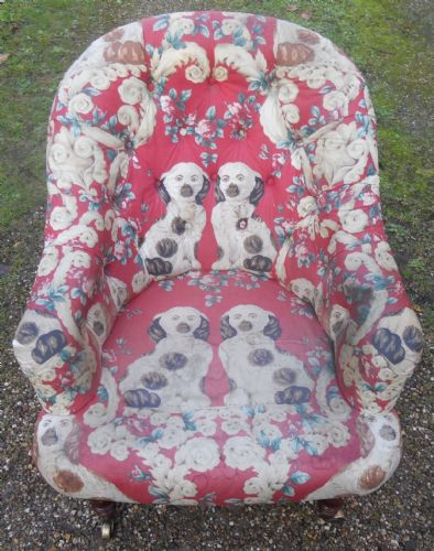 Victorian Style Upholstered Tub Armchair